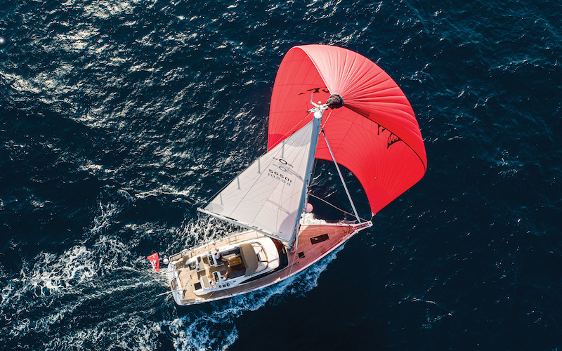 Sailboat with Spinnaker Flying